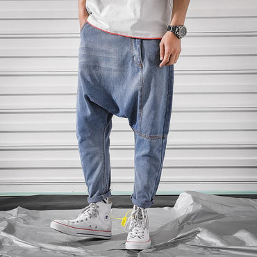 Men Classic Style Low Crotch Jeans Hip Hop Street Dance Harem Pants