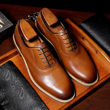 Luxury Style Men Genuine Leather Lace Up Oxford Shoes
