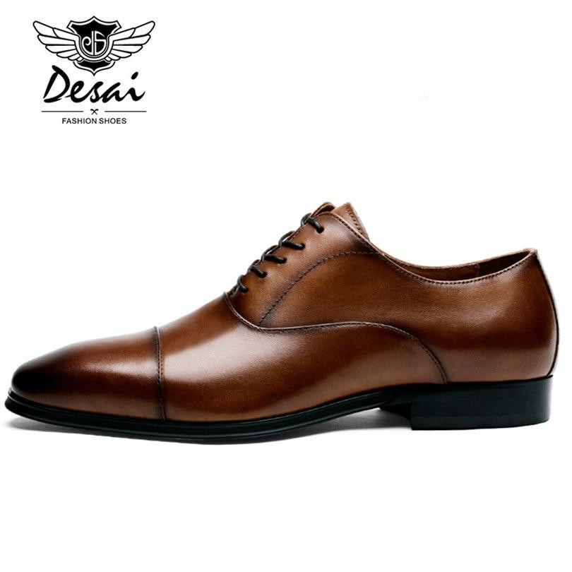 Luxury Genuine Leather Men Pointed Toe Oxfords Dress Shoes
