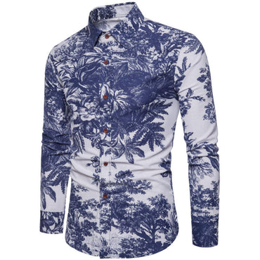 New Fashion Men Long Sleeve Floral Slim Fit Shirt