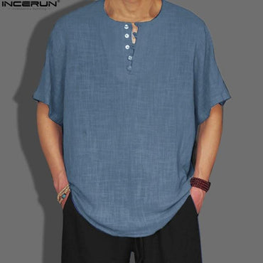 Mens Solid Color Button Decor Casual Loose Linen Shirt