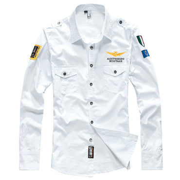 Men Fashion Embroider Cotton Air Force Shirt