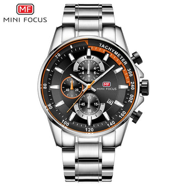 Men Business Dress Watches Stainless Steel Luxury Waterproof Chronograph Quartz Watch