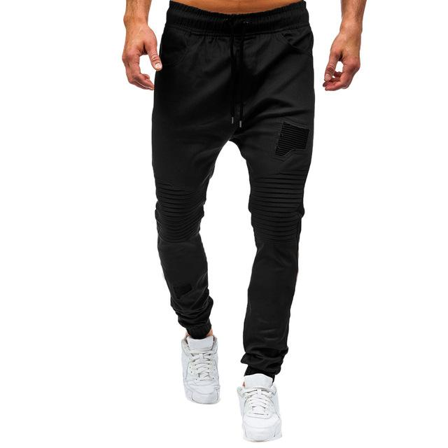 Men Drawstring Classic Zipper Pockets Sport Sweat Pants