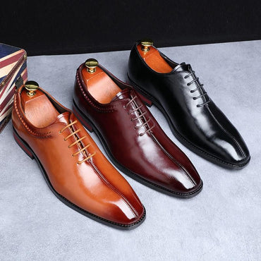 Men Dress Shoes Luxury Brand Designer Leather Lace Up Oxford Shoes