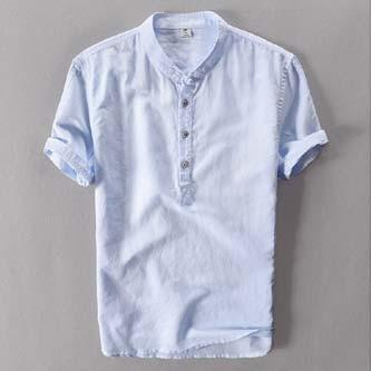 Hot Fashion Men Short Stand Collar Single Breasted Linen Casual Shirt