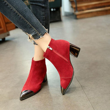 New Fashion Women Ankle Boots Sexy Square High Heels Slip On Pointed Toe Flock Leather Boots