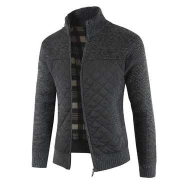 Men Cardigan Jacket Loose Fashion Thicker Knitted Colorblock Knit Outerwear