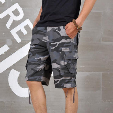 Men Casual Fashion Camouflage Elastic Waist Cargo Shorts