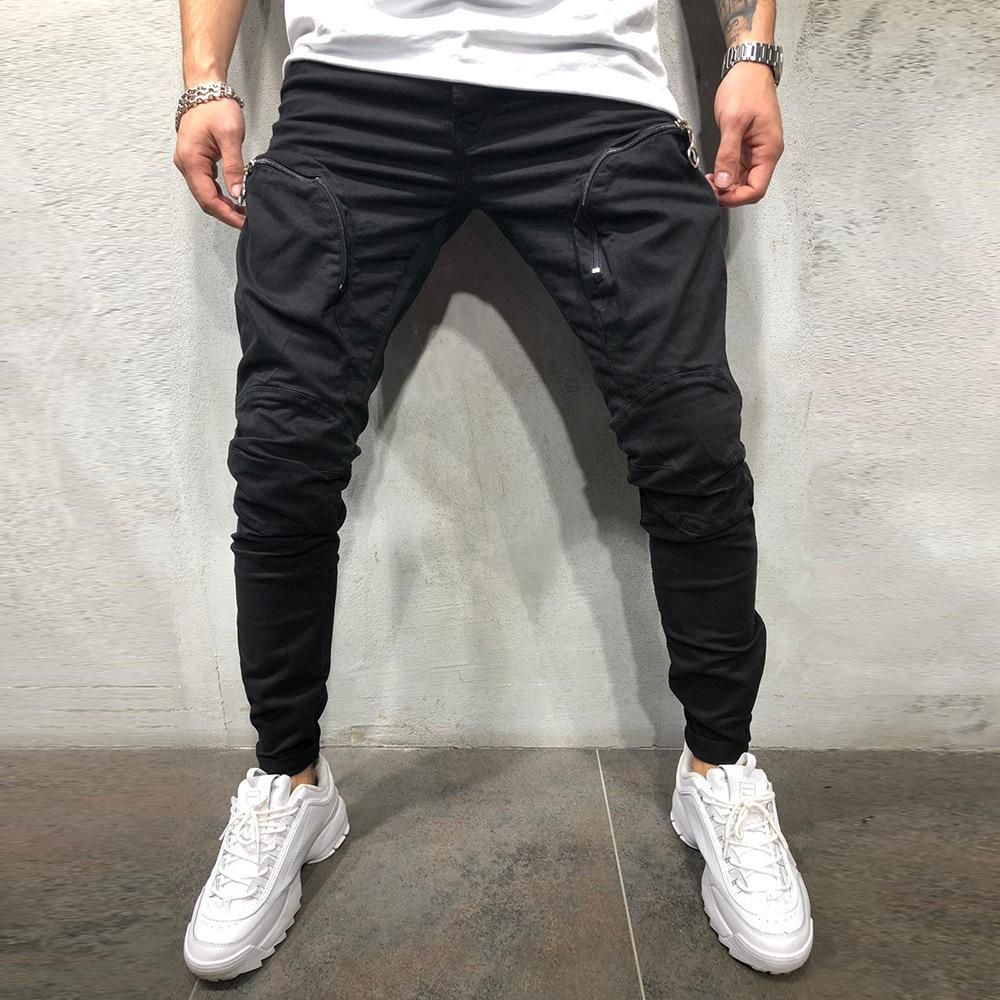 Men Fashion Zipper Splicing Harem Joggers Pants