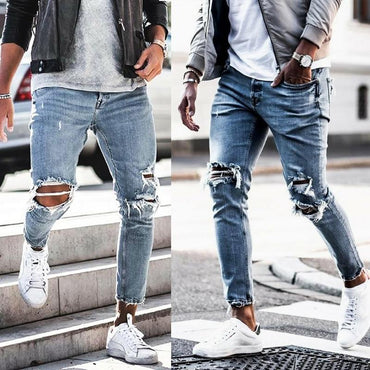 Hot Fashion Men Stretch Destroyed Ripped Design Knee Hole Skinny Jeans