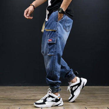 Fashion Streetwear Men Loose Fit Multi-Pockets Hip Hop Jogger Jeans