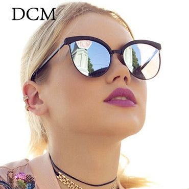Women Fashion Mirror Lens Cat Eye Sunglasses