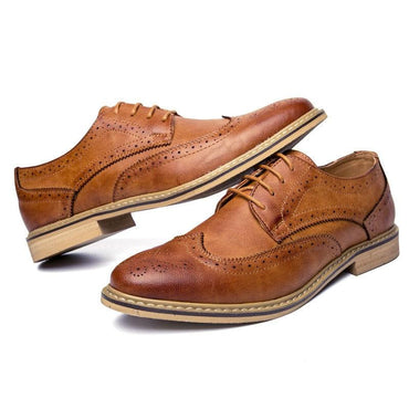 Men Dress Shoes British Style Fashion Brand Leather Brogue Formal Shoes