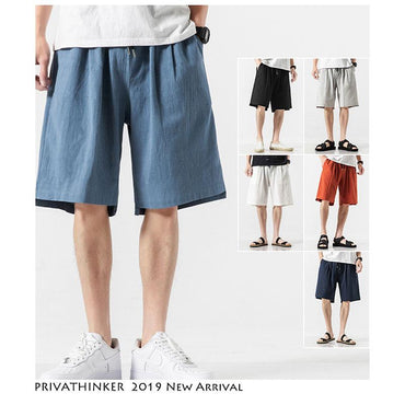 Men Fashion Cotton Linen Casual Shorts