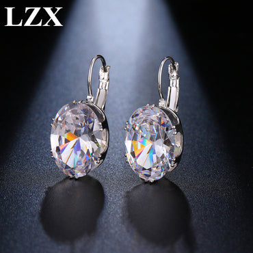 Women Luxury Cubic Zirconia Stone Hoop Earrings