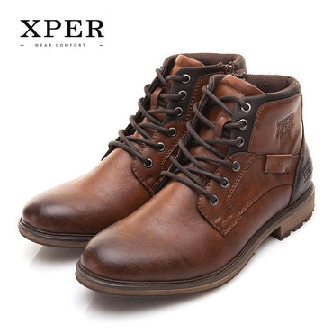 Men Boots Vintage Style  Fashion High Cut Lace-up Handmade Genuine Leather Ankle Boots