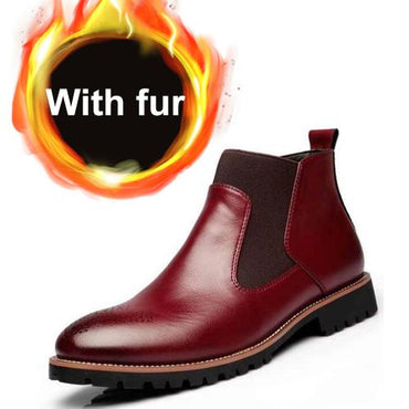 Men Boots Genuine Leather  With Fur Warm Vintage Classic Chelsea Boots