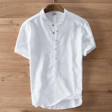 Men Fashion Short Sleeve Button Cotton Linen Comfortable Shirt