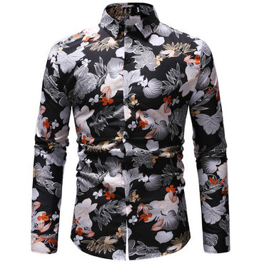 Men Fashion Long Sleeve Hawaiian Shirt