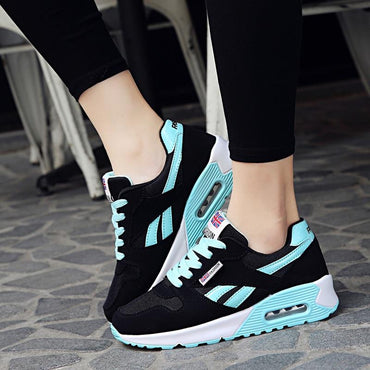 Women Air Cushion Sports Shoes Outdoor Running Lace Up Sneakers