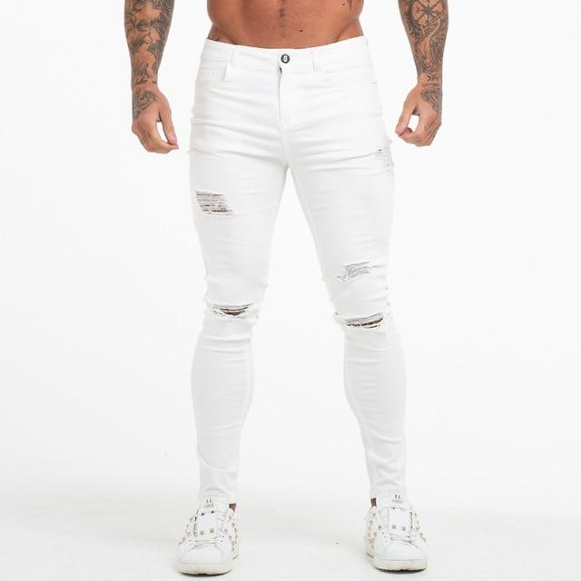 Men Jeans High Waist Ripped Skinny Tight Super Spray on