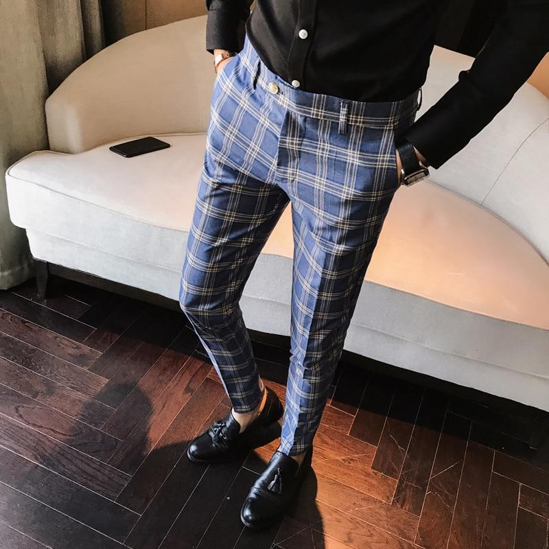Men Dress Pants Plaid Slim Fit Ankle Length New Fashion Check Suit Trousers