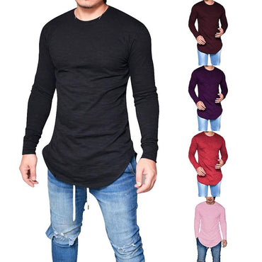 Men Casual Solid Round Neck Hip Hop Tshirt