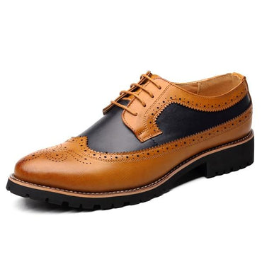 Men Oxford Shoes Luxury Style Italian Designer Lace-Up Bullock Formal Shoes