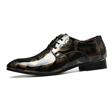 Men Dress Shoes Bright Leather Fashion Brand Pointed Toe Lace Up Formal Shoes