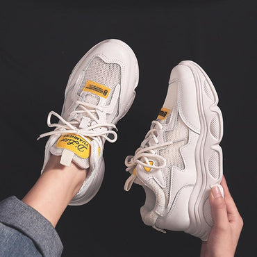 Women's Chunky Sneakers Fashion Lace Up Breathable Air Vulcanize Shoes