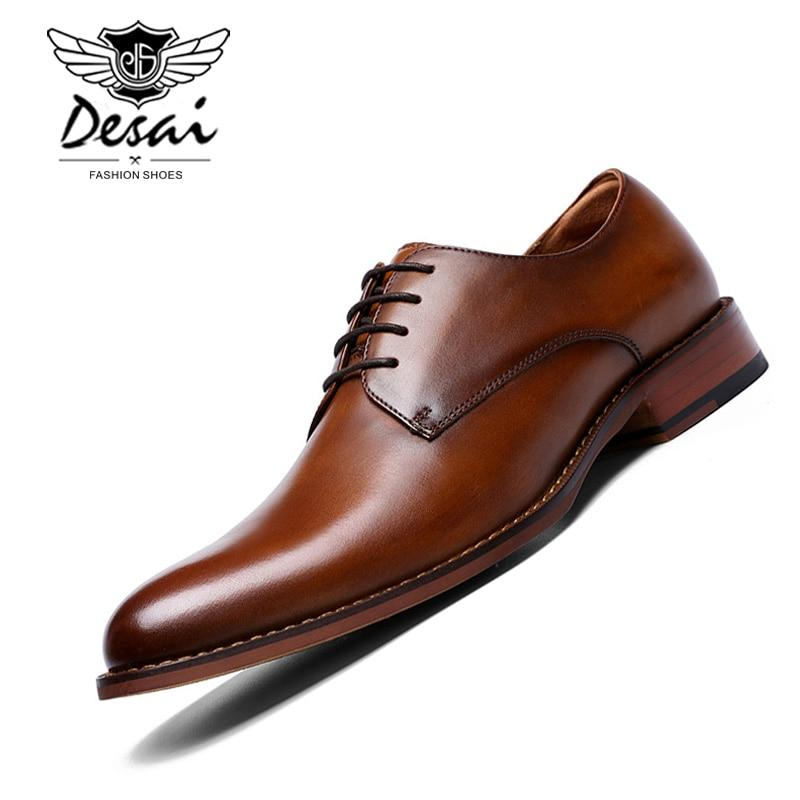 Men Genuine Leather Gentleman British Style Handmade Business Dress Shoes