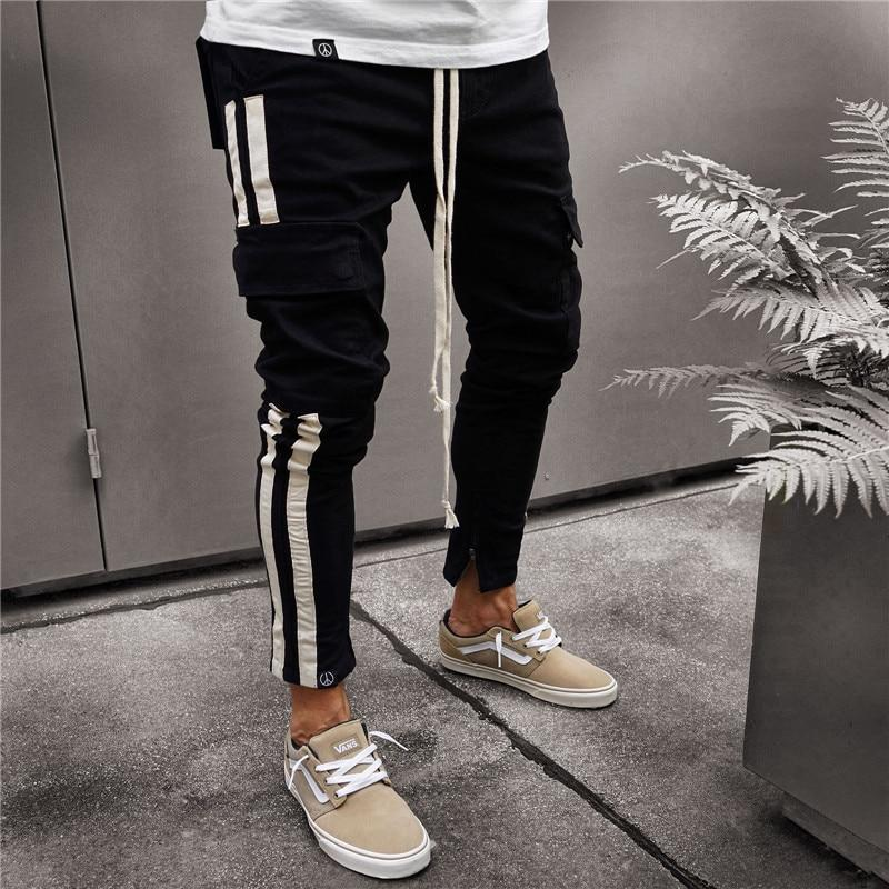 Military Work Cargo Camo Combat Side Stripe Hip Pop Streetwear Men Pants