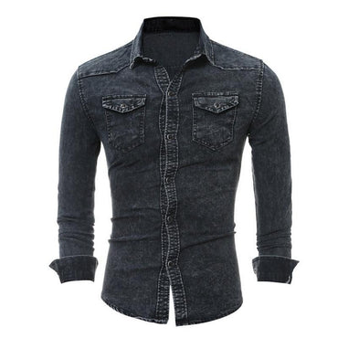 Fashion Men Wash Denim Long Sleeves Shirt