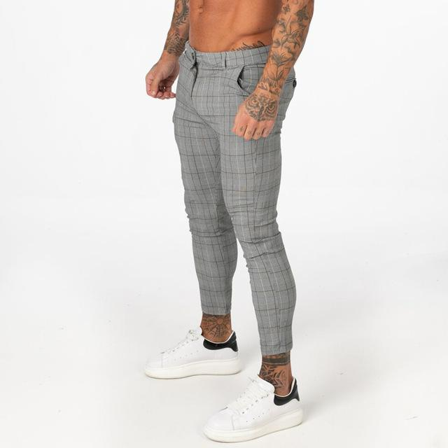 Men Chino Pants Slim Fit Skinny Plaid Tight Super Stretch Ankle Length