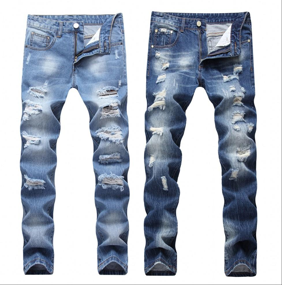 Men Ripped Jeans Fashion Patchwork Hollow Out High Street Style