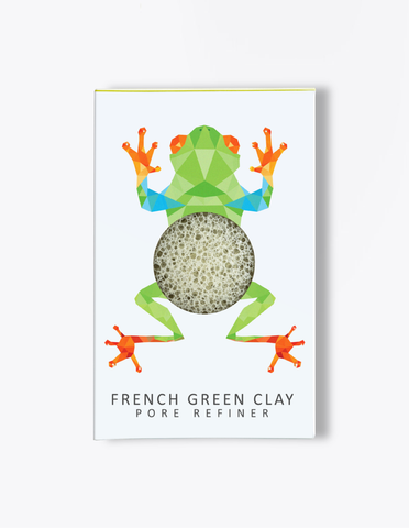 Konjac Mini Pore Refiner Rainforest Tree Frog Sponge - Green French Clay