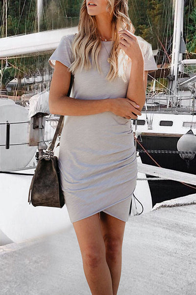 Casidress Daily Round Neck Mini Dress(3 colors)