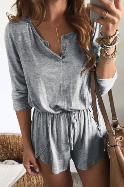 Casidress Casual Drawstring Romper(2 colors)