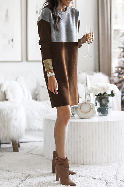 Casidress Patchwork Sweater Dress (6 colors)