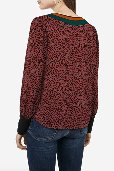 Casidress V Neck Printed Wine Red Blouse