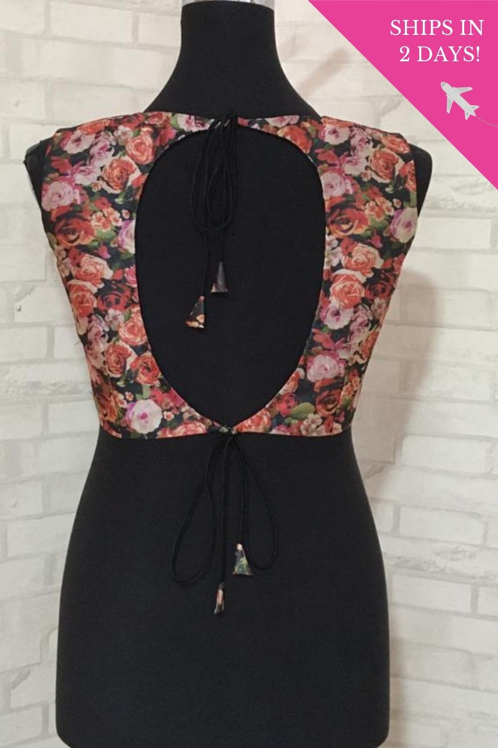Pink and black floral printed tie back blouse: Size -40 - House of Blouse