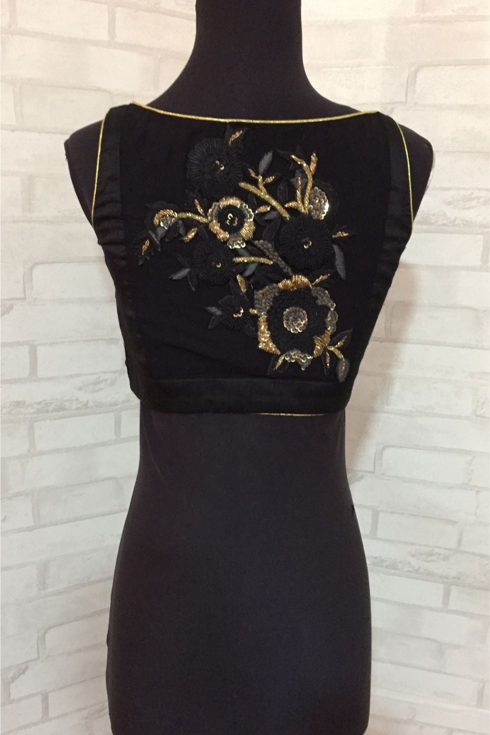 Black raw silk sweet heart neck blouse with a embroidered sheer back - House of Blouse