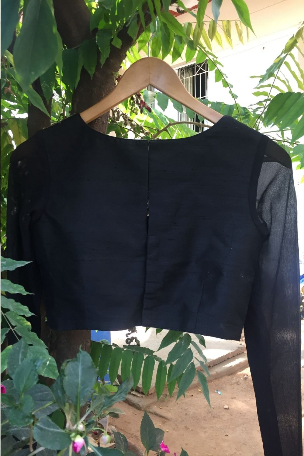 Black Raw silk blouse with embellished yoke and sheer sleeves - House of Blouse