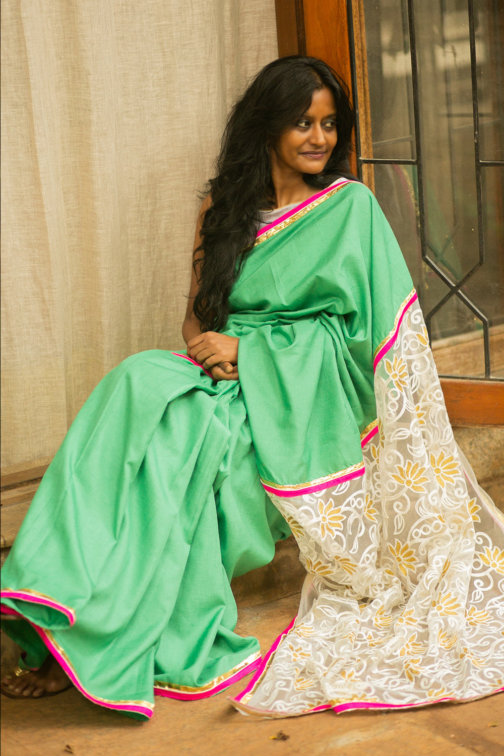 Seafoam green matka silk saree with fuchsia and gota edging and net lace pallu - House of Blouse