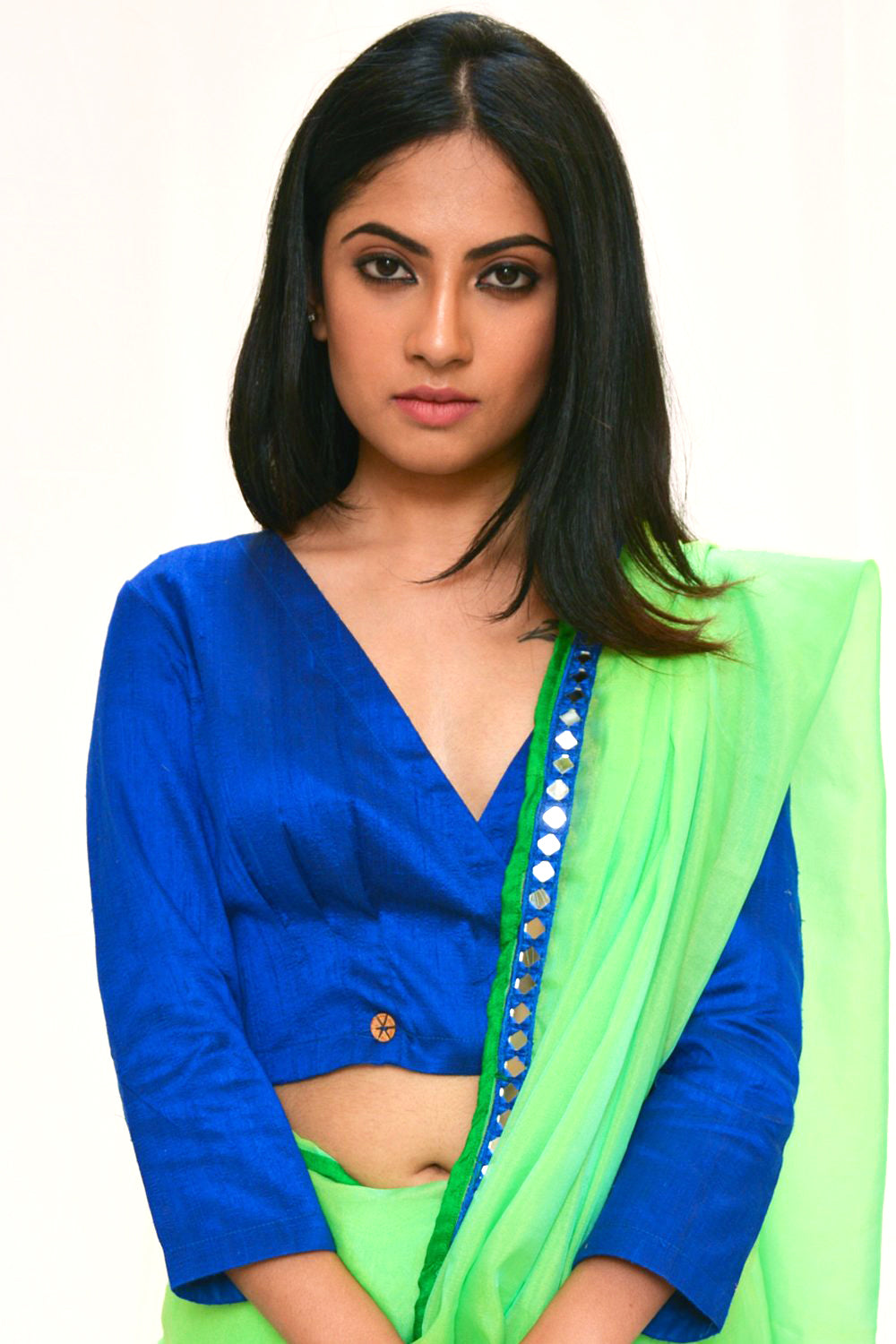 Royal blue raw silk crossover top