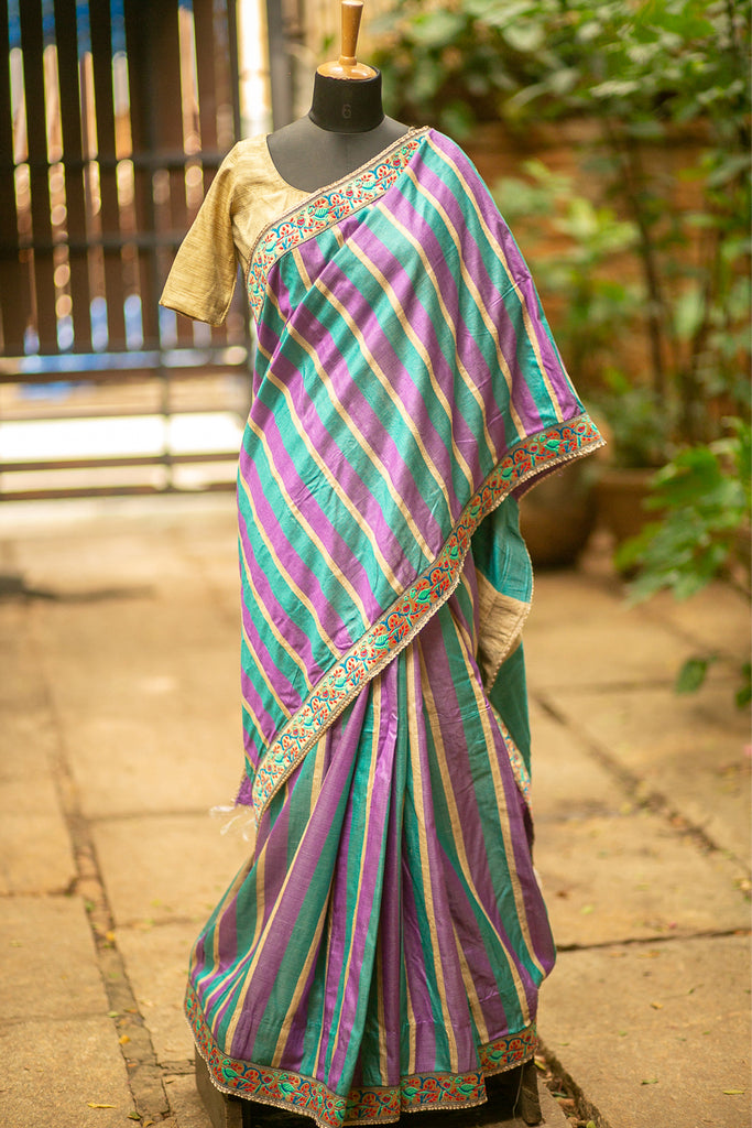 Purple, sea green and beige striped Bagalpuri soft silk saree with threadwork border - House of Blouse