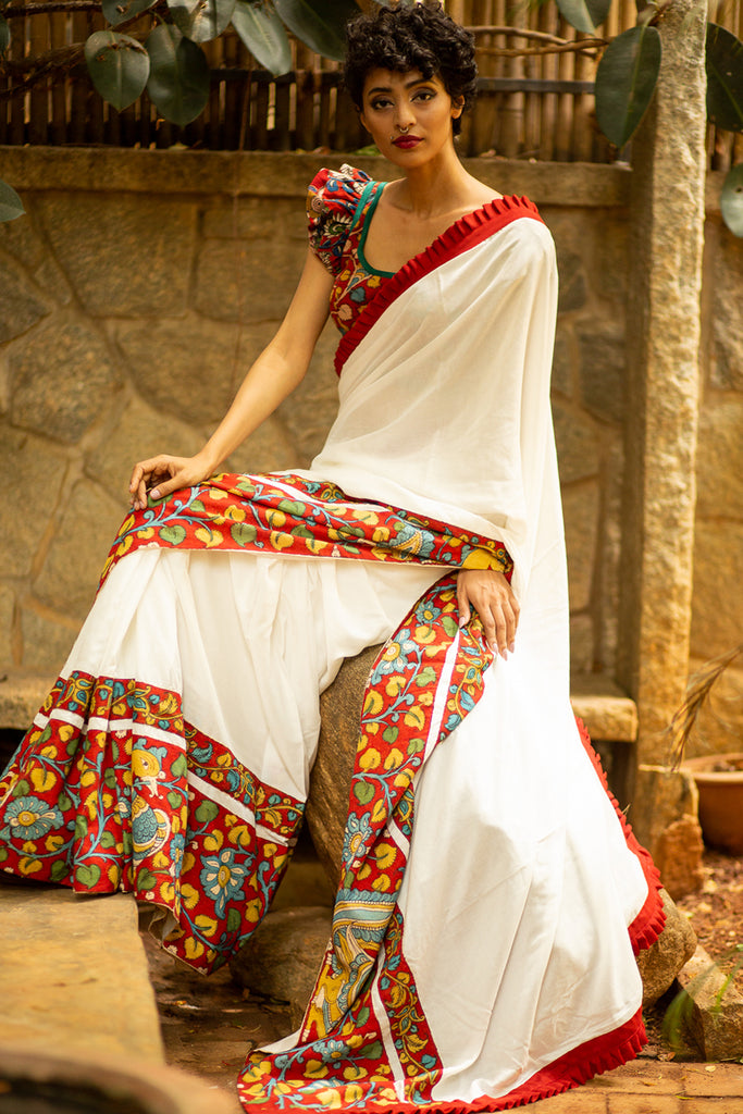 White soft cotton saree with maroon handpainted Kalamkari and frill border - House of Blouse