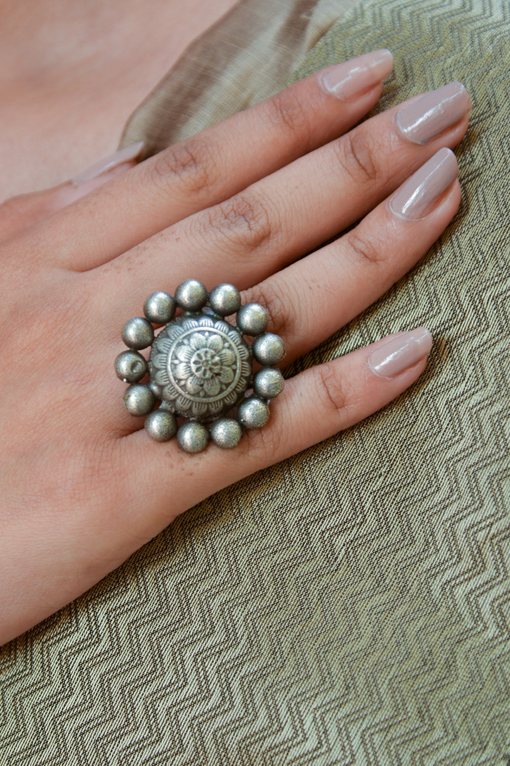 Oxidised Silver Plated Ring - House of Blouse