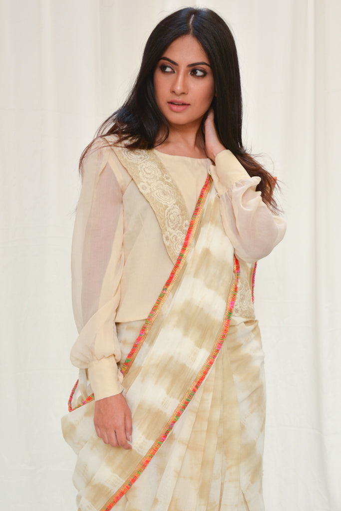 Cream and brown shibori shaded mul cotton saree with multicolour frill edging - House of Blouse